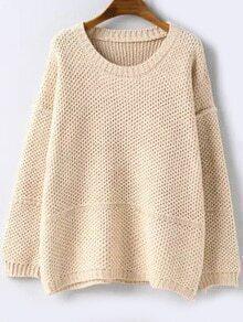 Round Neck Loose Beige Sweater