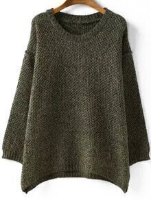 Round Neck Loose Green Sweater