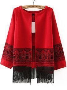 Geometric Print Tassel Red Coat
