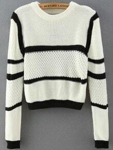 Striped Crop White Sweater