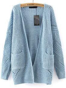 Long Sleeve Hollow Pockets Blue Coat