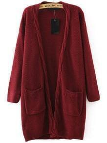Cable Knit Pockets Wine Red Coat