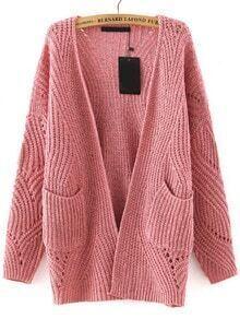 Long Sleeve Hollow Pockets Pink Coat