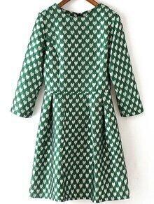 Heart Print A-Line Green Dress