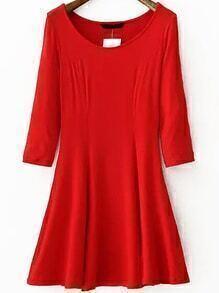 Round Neck A-Line Red Dress