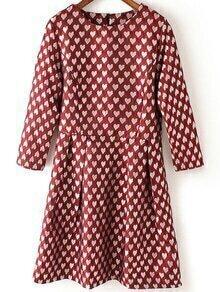 Heart Print A-Line Red Dress
