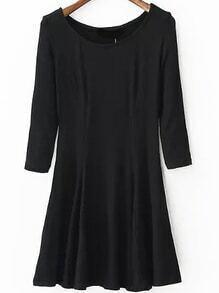 Round Neck A-Line Black Dress