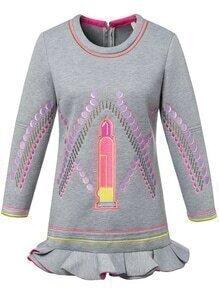 Lipstick Embroidered Peplum Hem Dress
