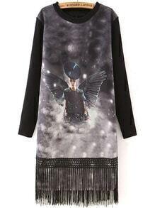 Wing Print Tassel Straight Dress