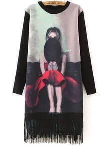 Hat Print Tassel Straight Dress
