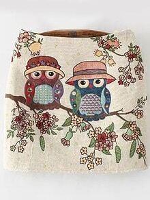 Owl Embroidered Skinny Skirt