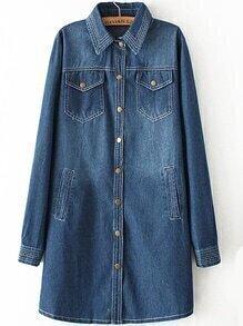 Lapel Pockets Buttons Denim Blue Coat