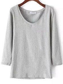 Long Sleeve Slim Grey T-shirt