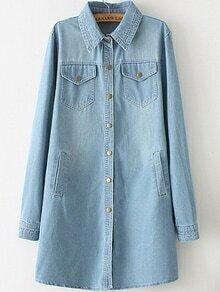 Lapel Pockets Buttons Denim Pale Blue Coat
