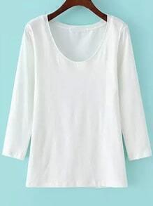 Long Sleeve Slim White T-shirt