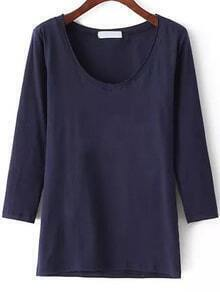 Long Sleeve Slim Navy T-shirt