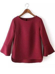 Bell Sleeve High Low Wine Red T-shirt