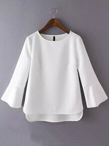 Bell Sleeve High Low White T-shirt
