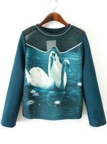 Swan Print Hollow Embroidered Sweatshirt
