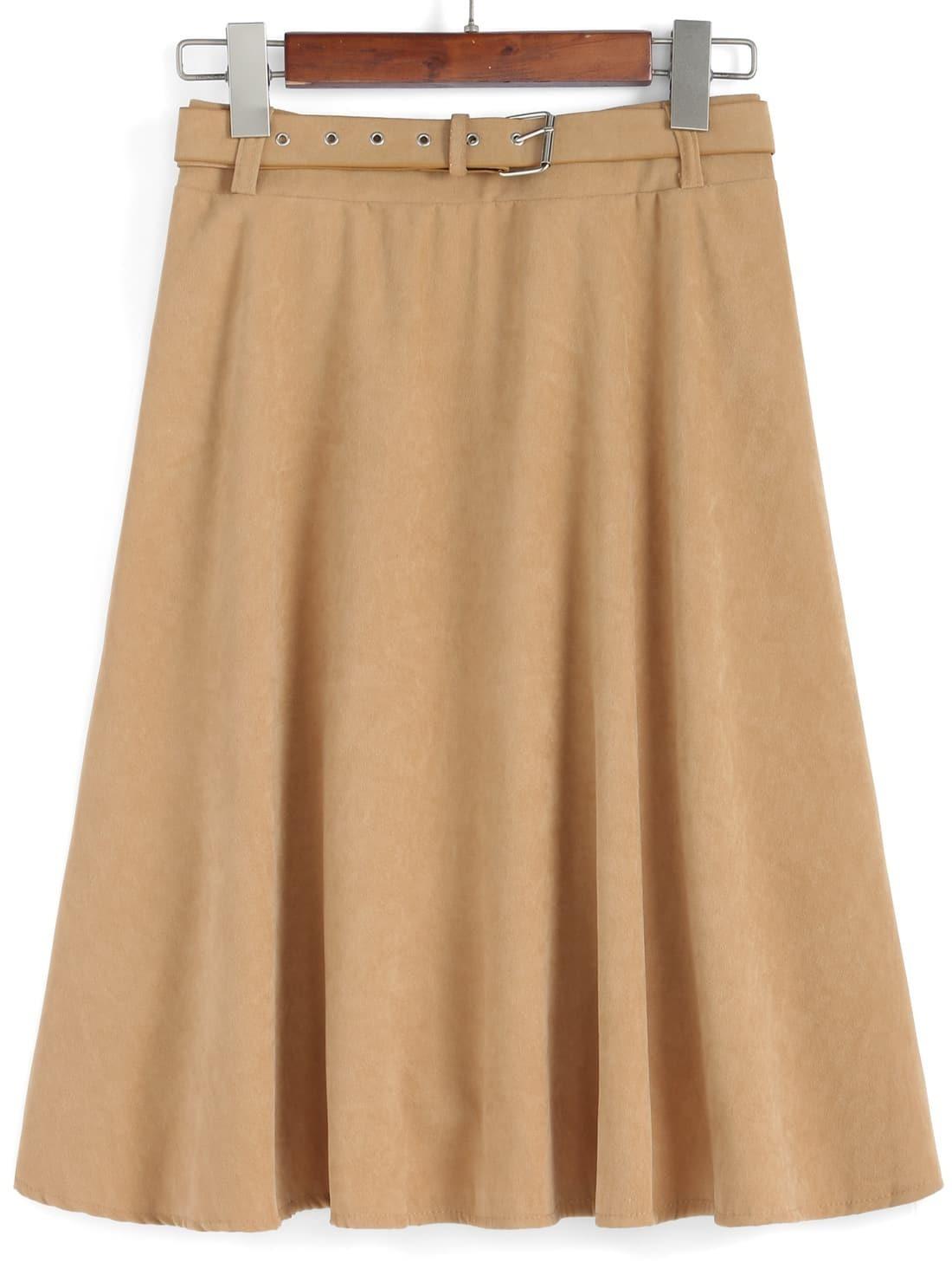 belt pleated khaki skirt