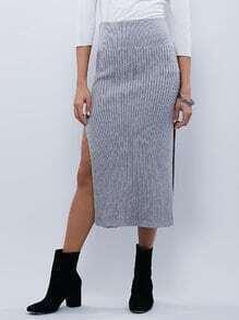Grey High Waist Split Skirt