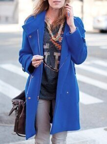 Mantel Langarm mit Revers-blau