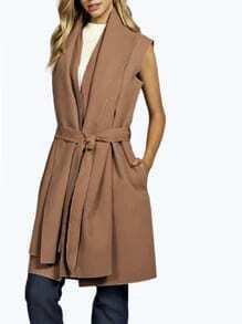Camel Sleeveless Lapel Coat