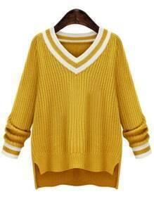 V Neck Striped Dip Hem Sweater