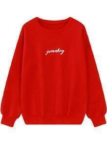 Letter Embroidered Red Sweatshirt