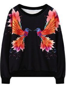 Bird Print Black Sweatshirt