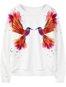 Bird Print White Sweatshirt