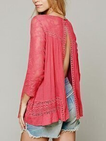 Lace Insert Slit Back Blouse