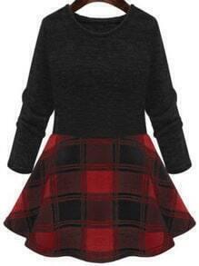 Long Sleeve Plaid Red Dress