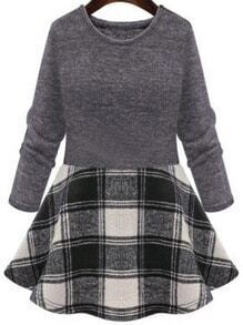 Long Sleeve Plaid Black Dress