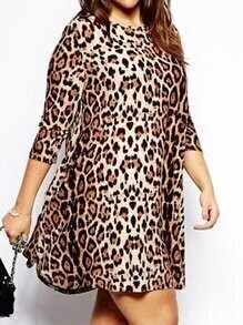 Long Sleeve Leopard Shift Dress