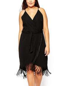 Spaghetti Strap Tassel Wraped Dress