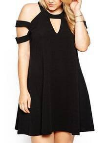 Halter Keyhole Plus Black Dress