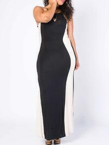 Spaghetti Strap Maxi Black White Dress