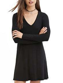 V Neck Shift Black Dress