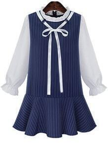 Ruffle Collar Vertical Striped Bow Dress