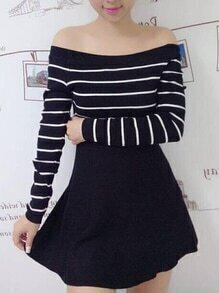 Boat Neck Striped A-Line Dress