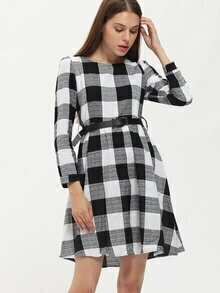 Plaid Belt A-Line Dress