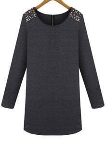 Long Sleeve Bead Shift Dress