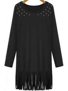 Long Sleeve Hollow Tassel Black Dress