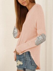 Long Sleeve Sequined Pink T-shirt