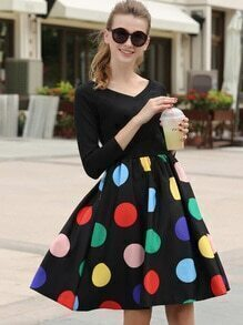 V Neck Polka Dot Flare Dress
