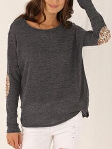 Long Sleeve Sequined Grey T-shirt
