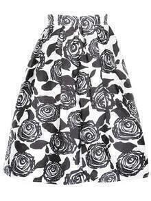 Rose Print Flare Skirt