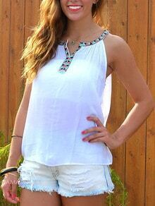Lace Insert Hollow Tank Top