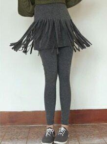 Tassel Skirt Grey Leggings